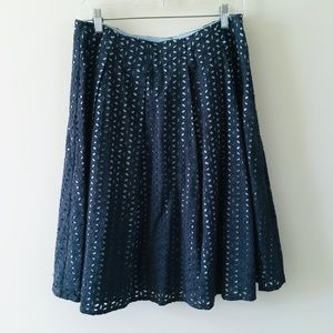 Garnet Hill Blue Eyelet Cotton Skirt Size 10